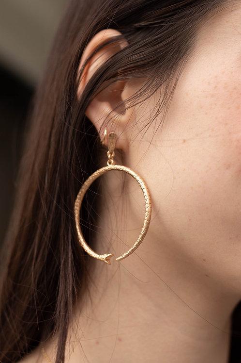 Circle Snake Dangle Earrings
