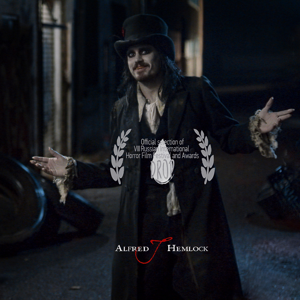 Alfred J Hemlock with the official laurel for the Russian International Horror Film Awards