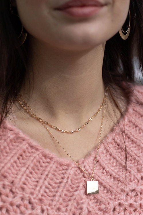 Double Chain Layered Necklace with Square Pendant