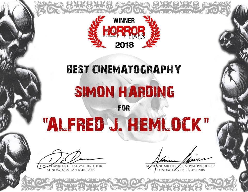 Award certificate from the Horror Haus Film Festival for Simon Harding Best Cinematography