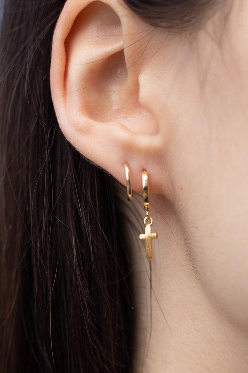 Gold Cross Huggie Hoop Earrings