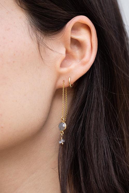 Handmade Bezel Gemstone Threader Earrings