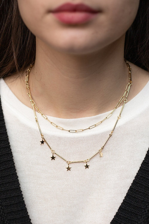 Star and Gold Chain Layered Necklace