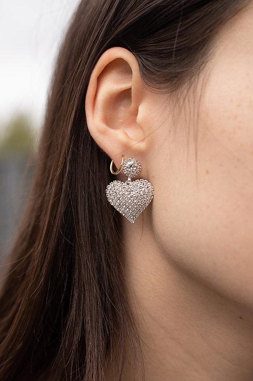 Heart CZ Dangle Earrings