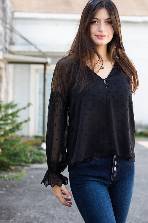 Star Button Up Long Sleeve Sheer Blouse