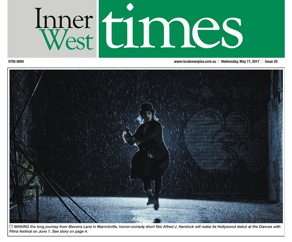 Alfred J Hemlock on the cover of the Inner West Times