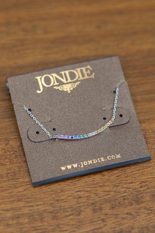 Rainbow Rhinestone Bar Dainty Necklace