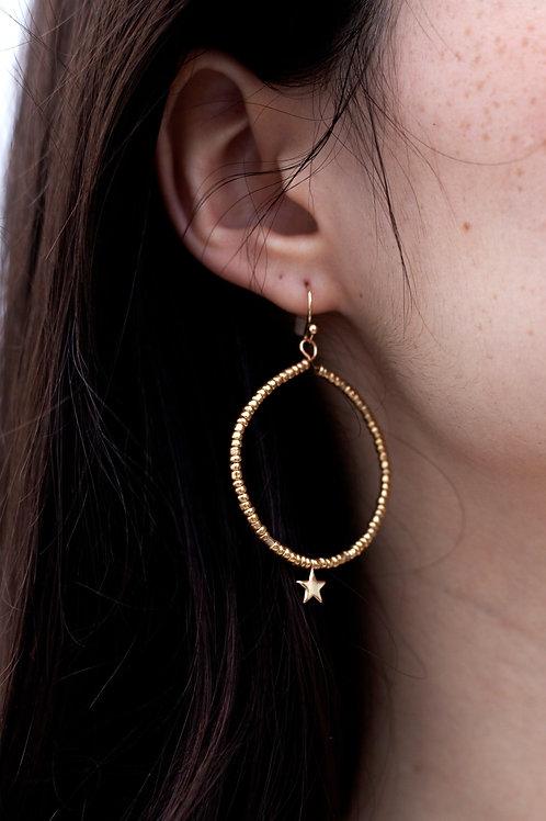 Gold Beaded Star Earrings