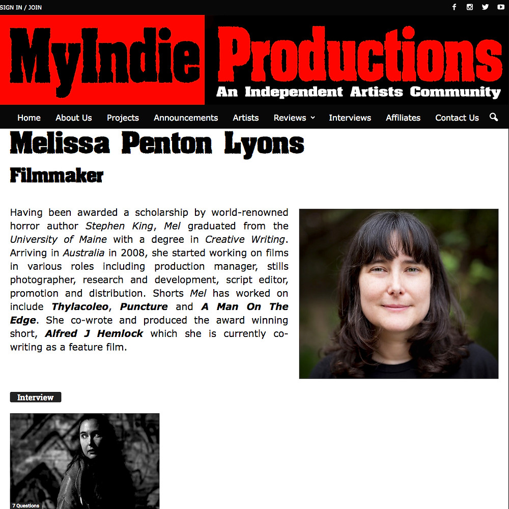 Melissa Lyons on photo on MyIndie Productions Artist Page