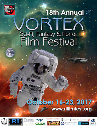 Vortex Sci-Fi, Fantasy & Horror Film Festival poster. Astronaut in space under Votex logo