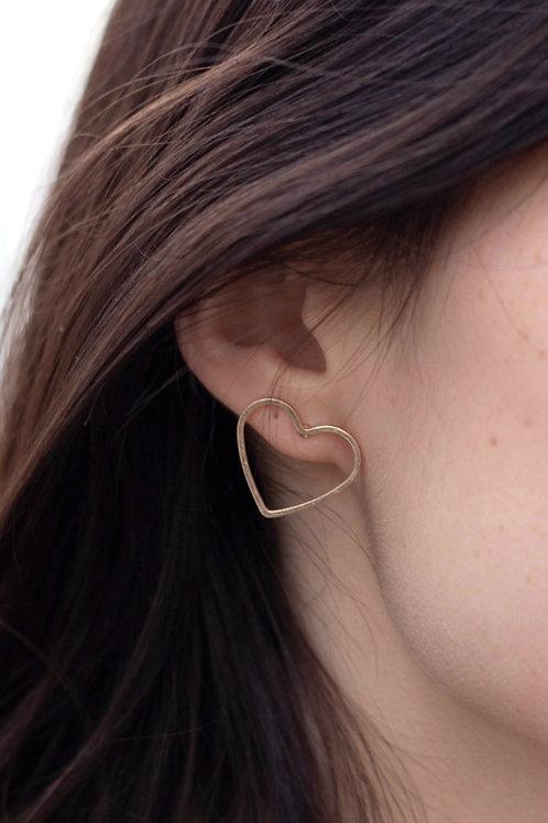 Gold or Silver Heart Stud Earrings
