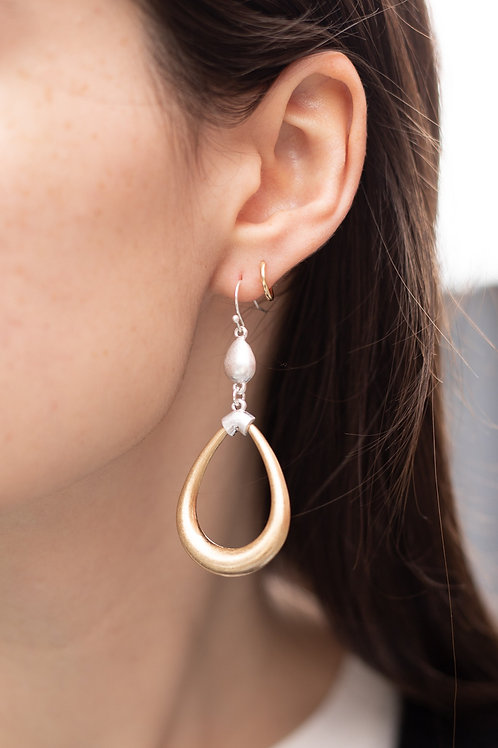 Gold & Silver Teardrop Dangle Earrings