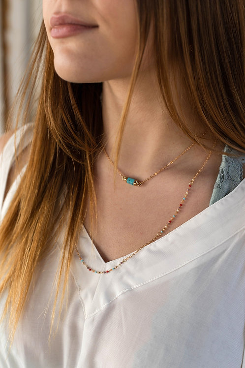 Turquoise Bar Layered Necklace