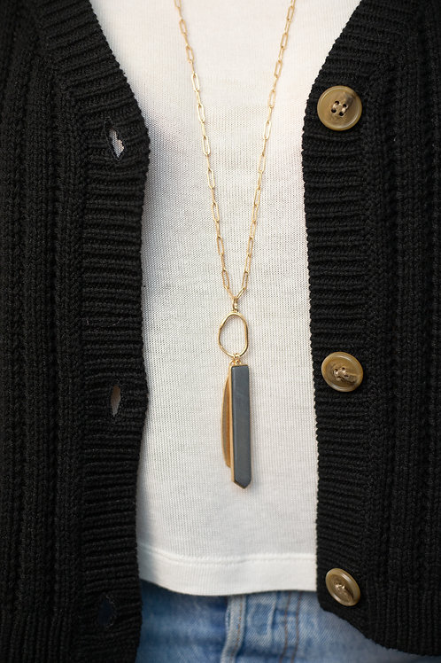 Gold Pendant Necklace with Stone