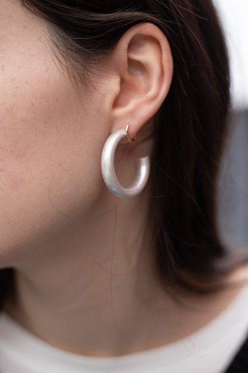 Thick Matte Gold or Silver Hoop Earrings