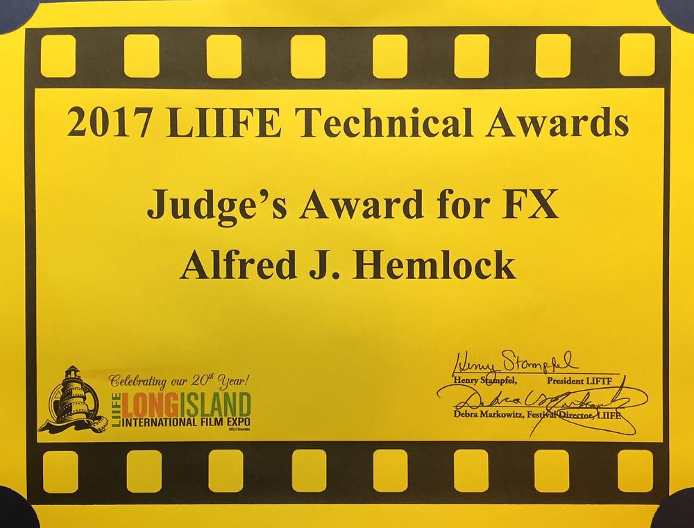 Long Island International Film Expo Certificate Judges Award for FX