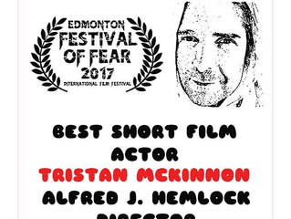 Tristan Mckinnon Wins Best Short Film Actor at Edmonton Festival of Fear