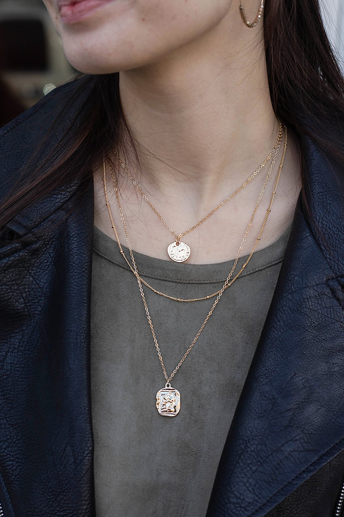 Layered Gold Coin and Chain Necklace