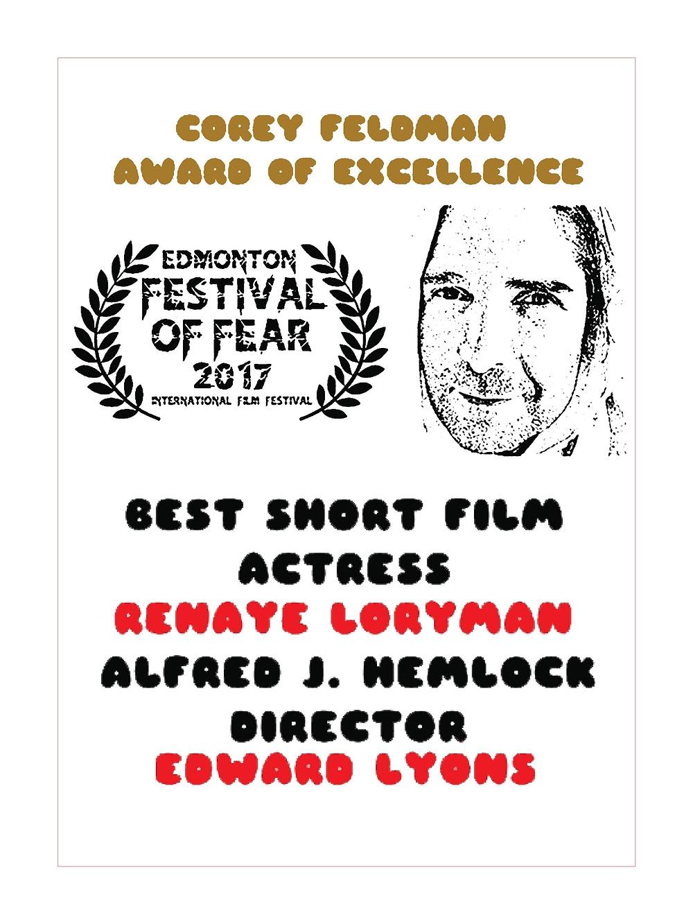 Renaye Loryman Wins Best Short Film Actress for Alfred J Hemlock at Edmonton Festival of Fear