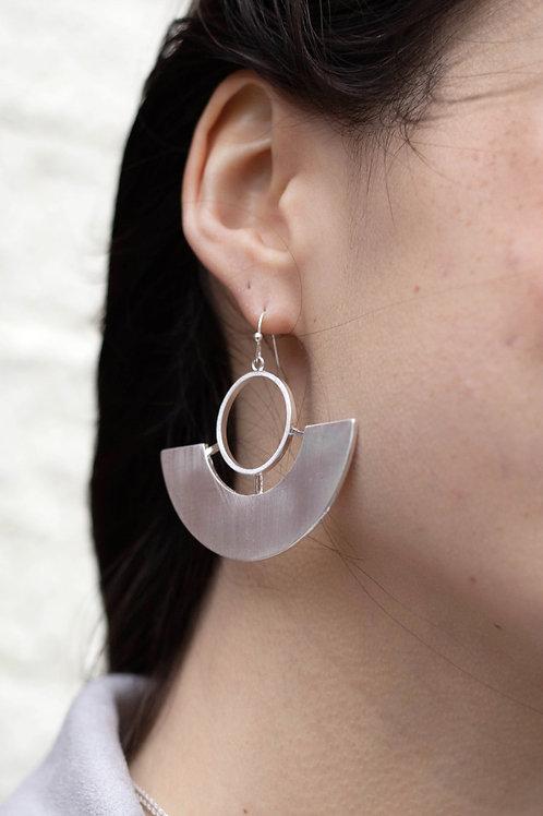 Silver Geometric Dangle Earrings