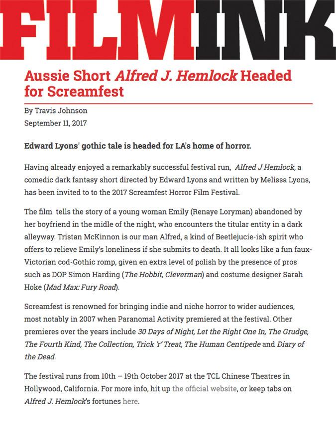 FilmInk Title. Aussie Short Alfred J Hemlock Headed for Screamfest