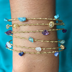 #Handmade #guitar string bracelets by _restrungjewelry with #gemstones