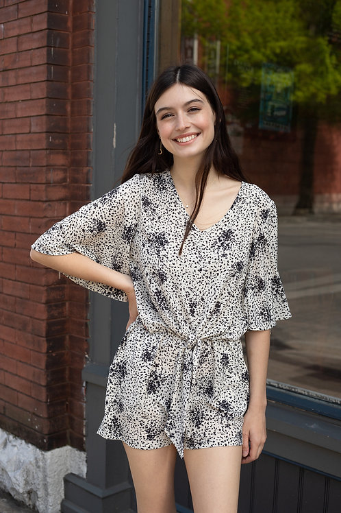 Printed Tie Front Romper with Keyhole Back
