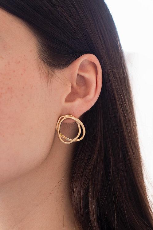 Double Circle Stud Earrings