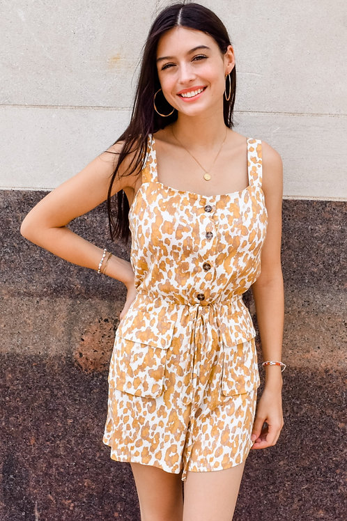 Gold & White Printed Romper with Pockets