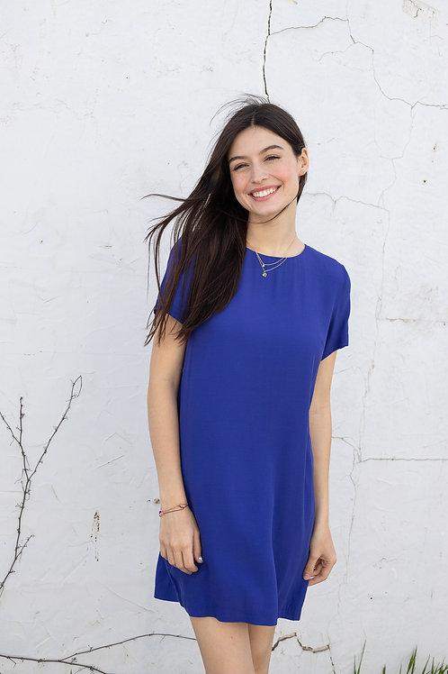 Cobalt Blue Zipper Back Short Sleeve Dress