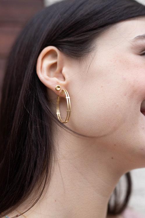 Gold Double Bar Hoop Earrings