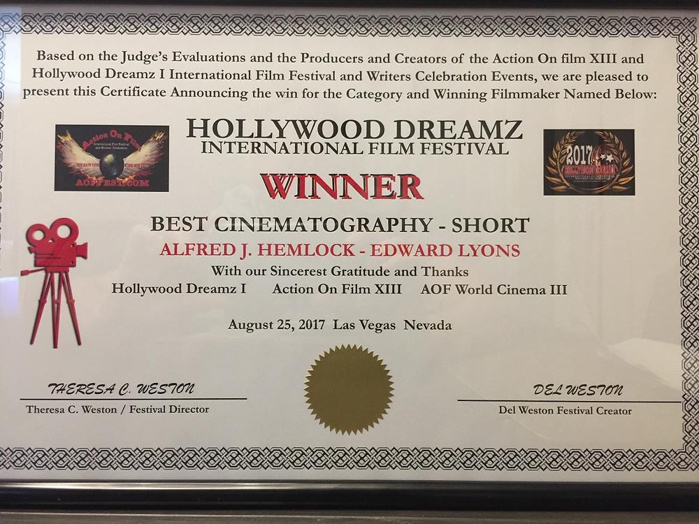Winner Best Cinematography Short Simon Harding - Alfred J Hemlock Hollywood Dreamz International Film Festival