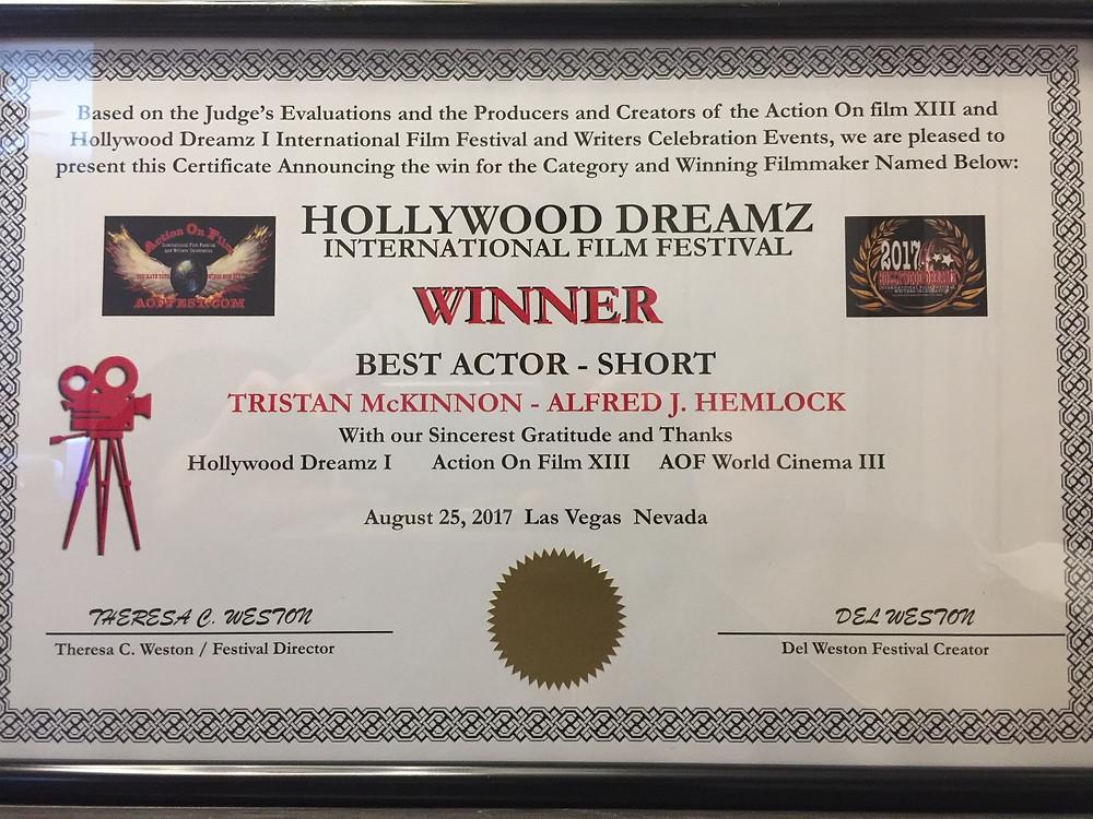 Winner Best Actor Short Tristan Mckinnon - Alfred J Hemlock Hollywood Dreamz International Film Festival