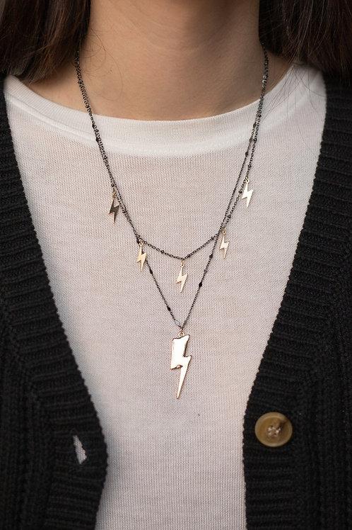 Lightning Bolt Layered Gunmetal Necklace