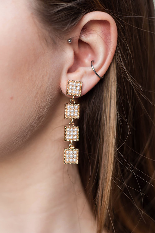 Pearl Rectangle Dangle Earrings