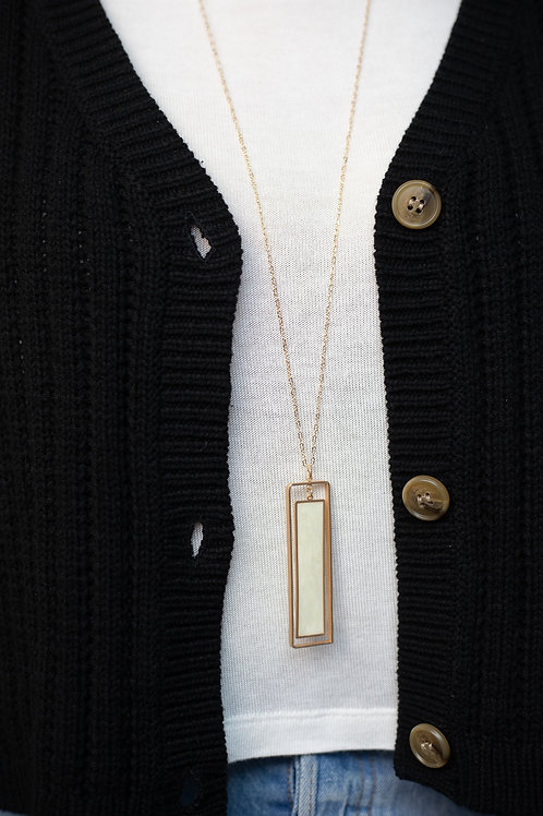 Enamel Gold Rectangle Pendant Necklace
