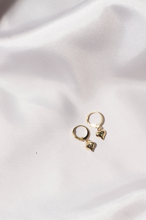 Gold Heart Huggie Hoop Earrings