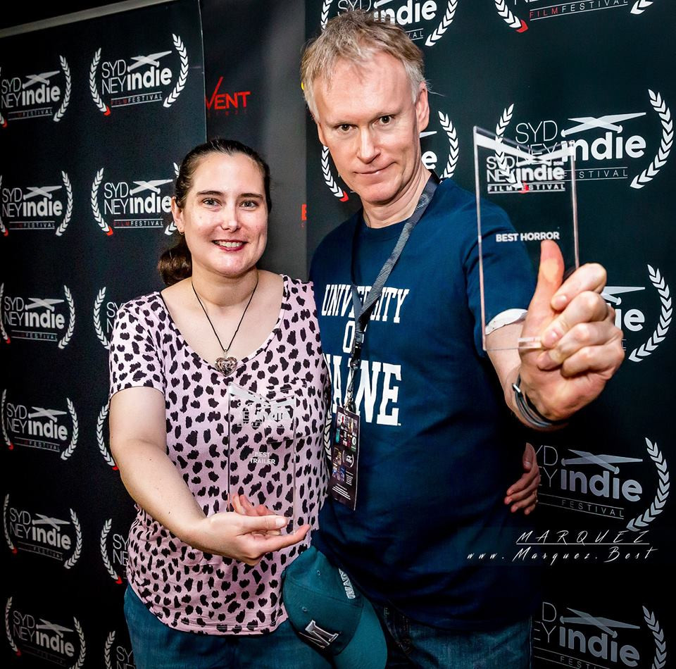 Writer/Producer Melissa Lyons and Writer/Director Edward Lyons with their awards at the Sydney Indie Film Festival