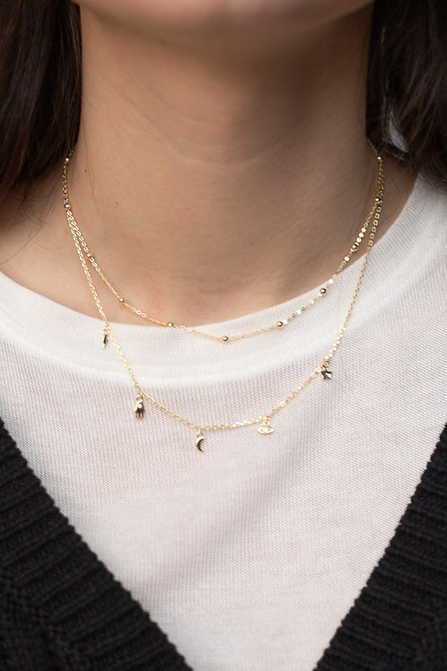 Gold Vermeil Layered Charm Necklace