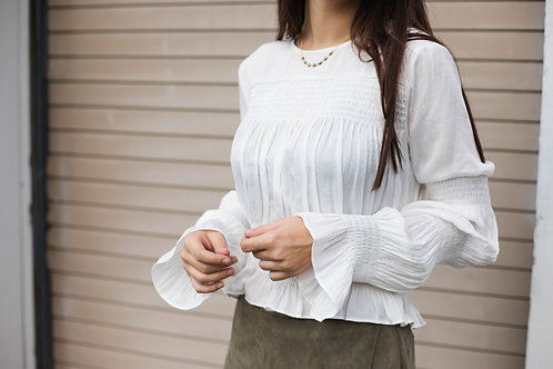 White Smocked Long Sleeve Top