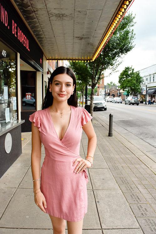 Mauve Short Sleeve Wrap Dress