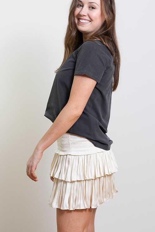 Ivory Silky Layered Smocked Waist Skirt