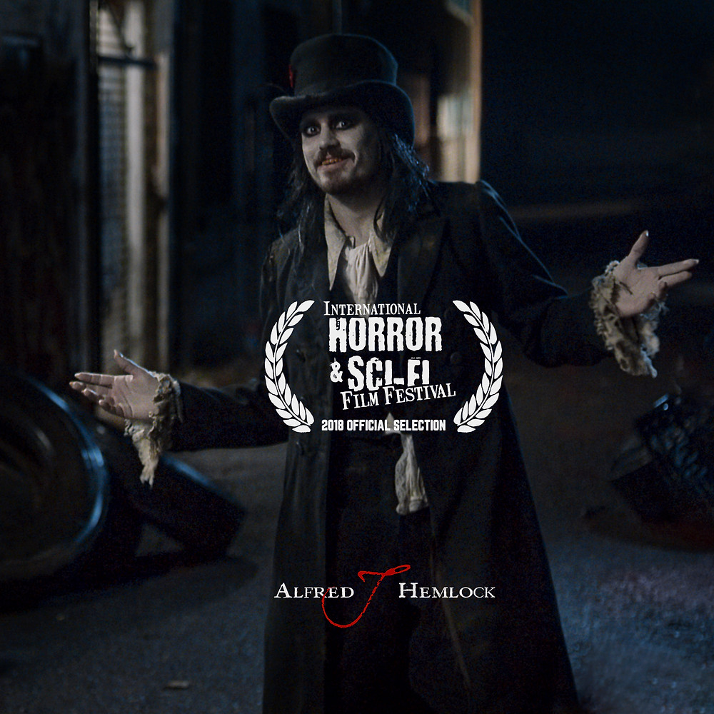 Alfred J Hemlock with the official laurel to the International Horror & Sci-Fi Film Festival