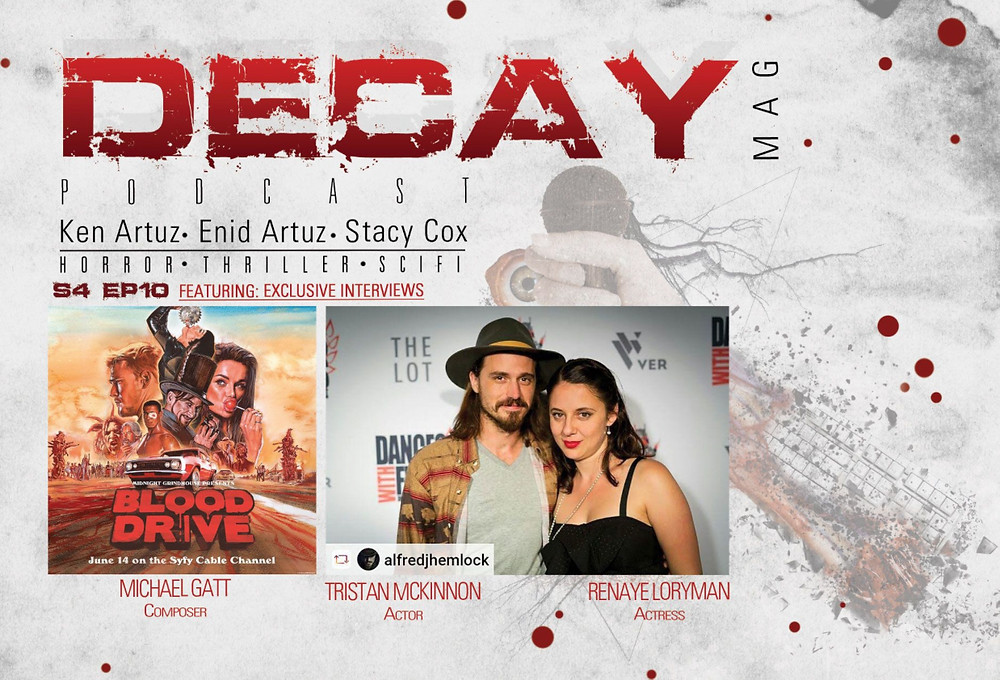 DecayMag Title page. Picture of actors Tristan Mckinnon and Renaye Loryman on the green carpet at Dances with Films