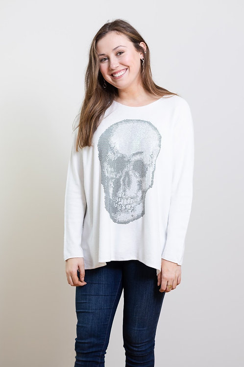 Rhinestone Skull Lightweight Sweater