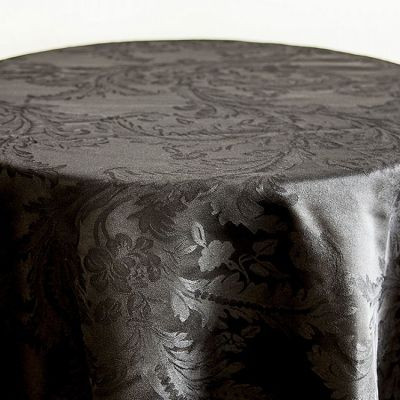 Black white Luxury Damask Table Cloth