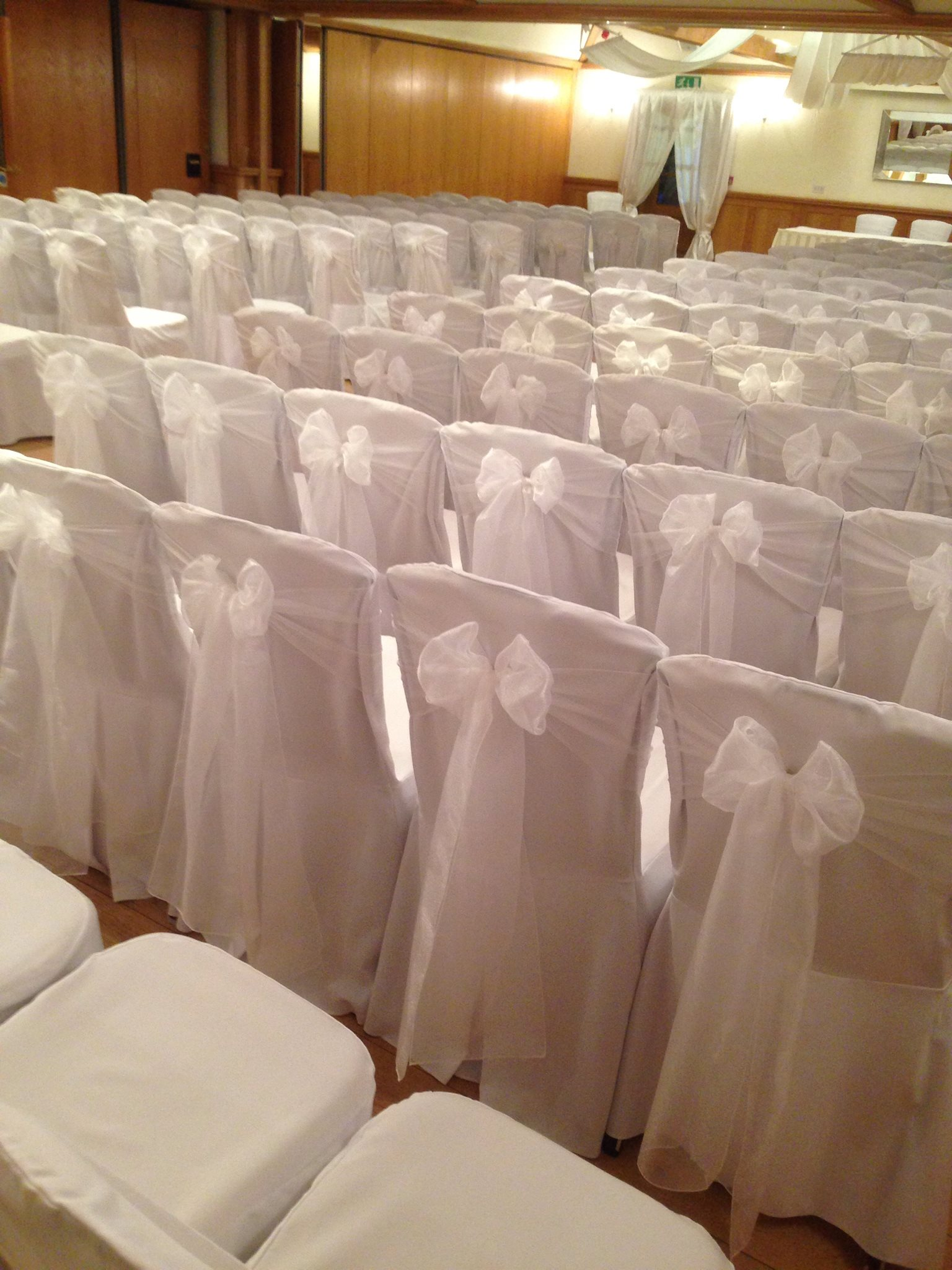white chair Cover & Organza Sash