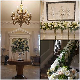 silk wedding flowers in cream and green