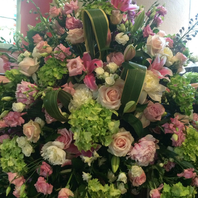 Pink Wedding Church Flowers at Braxted Park