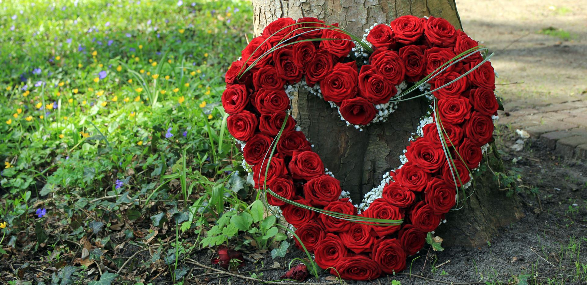 Heart shaped sympathy flowers  or funera